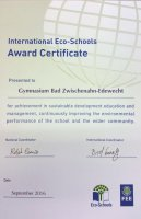 International Eco-Schools Award Certificate 2016